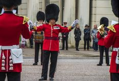 Your Majesty royal guards orchestra in Whitehall yard Royalty Free Stock Photography