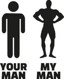 Your man compared with my muscle man. Vector icon Royalty Free Stock Image