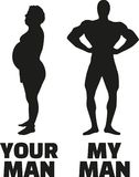 Your man and my man - fit compared to overweight. Vector icon Royalty Free Stock Images