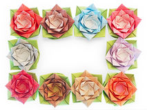 Your message here. 10 origami flowers decoration on a white background Royalty Free Stock Photography