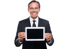 Your message on his tablet. Stock Image