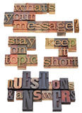 Your message question in letterpress type. Communication or presentation advice - collage of question and phrases in vintage wood letterpress printing blocks stock photography