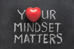 Your mindset matters. Phrase handwritten on blackboard with heart symbol instead of O royalty free stock photo