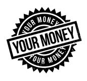 Your Money rubber stamp. Grunge design with dust scratches. Effects can be easily removed for a clean, crisp look. Color is easily changed Stock Image