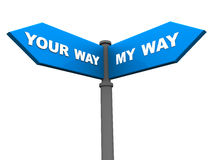 Your or my way. A street sign board showing two ways, your way and my way, choosing the right way amongst different opinions Royalty Free Stock Photos