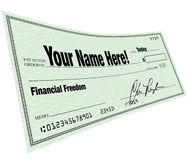 Your Name Here - Financial Freedom Blank Check. A blank check with Your Name Here on the payee line and words Financial Freedom symbolizing the solution to a Royalty Free Stock Photos