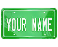 Your Name License Plate Personalized Vanity Badge Stock Image