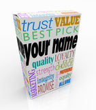 Your Name Product Box Package Marketing Reputation of You. Your Name on a product box alongside words such as trust, value, best pick, quality, loyalty, top Royalty Free Stock Photo