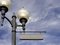 Your Name Sign Post. An old fashioned street lamppost with a sign ready for your name Royalty Free Stock Photography