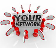 Your Network People Friends Colleagues Talking in Circle. A group of your friends, colleagues, co-workers, neighbors or other people you have connections with stock illustration