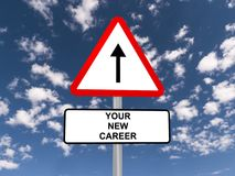 Your new career sign. With a directional arrow, blue sky and cloudscape background Stock Images
