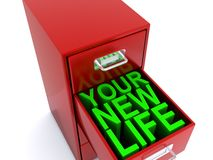 Your new life concept. Open filing cabinet revealing your new life in draw Stock Image