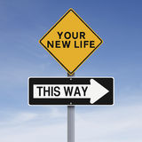 Your New Life This Way. Conceptual road signs on new beginnings Royalty Free Stock Image