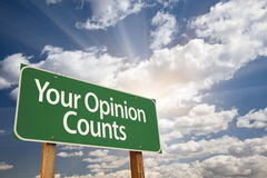 Your Opinion Counts Green Road Sign Royalty Free Stock Photography