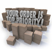 Your Order is Top Priority Packages Boxes Warehouse Important De Royalty Free Stock Images