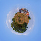 Your own Planet Earth: spherical panorama of a meadow with a lit Stock Photos