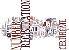 Your Personalised Number Plate Explained Certificate Of Entitlement Text Background Word Cloud Concept Stock Photos