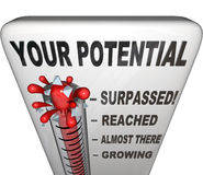Your Potential Measured Will You Reach Your Full Success. A thermometer measuring your level of potential reached, ranging from Growing, Almost There, Reached Royalty Free Stock Image
