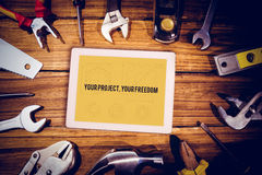 Your project, your freedom against blueprint Stock Photos