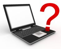 Your question & laptop Royalty Free Stock Images