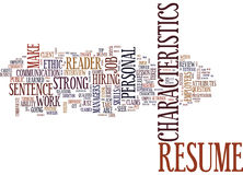 Your Resume Should Have Character Text Background  Word Cloud Concept Royalty Free Stock Photos
