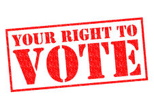 YOUR RIGHT TO VOTE. Red Rubber Stamp over a white background Stock Photography