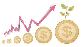 your savings with recycled paper stick Royalty Free Stock Images