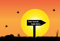 Your search ends here sign board silhouette evening yellow sun Stock Photo