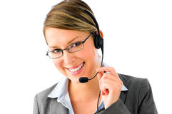 At your service. Customer service agent with headset Royalty Free Stock Images