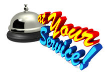 At your service. Service bell with text at your service in color, customer service and hospitality concept royalty free illustration