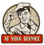 At Your Service Man Sign Retro Vintage Metal Tin. Old antique rusted 1930s 1940s 1950s Milkman Gas Station Attendant vector illustration