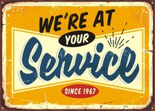 We are at your service retro store sign design stock illustration