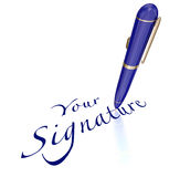 Your Signature Pen Signing Name Autograph. Your Signature words and pen signing name or autograph on contract, agreement or other legal document or letter Royalty Free Stock Photos