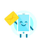 Your smartphone friend have a message for you. Vector flat illustration icon cartoon phone character. Isolated on white background Stock Photo