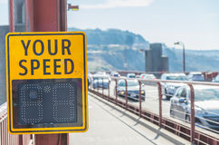 Your speed sign on the bridge Royalty Free Stock Image