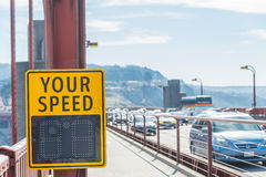 Your speed sign on the bridge Royalty Free Stock Photos