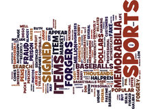 Are Your Sports Memorabilia Faux Or Word Cloud Concept Royalty Free Stock Photography