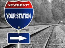 Your station road sign Royalty Free Stock Image