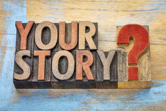 Your story question in wood type Stock Photos