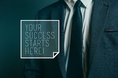 Your success starts here, motivational business message Royalty Free Stock Photos