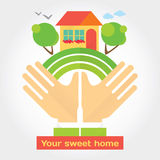 Your sweet home - modern illustration about dreams that comes true. Royalty Free Stock Photo