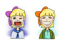 Your teeth. Girl sad or smile with her teeth Royalty Free Illustration