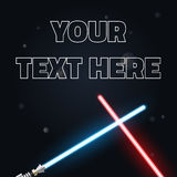 Your text here banner. Vector Illustration of light swords, Neon for design, Stock Photography