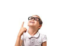 Your text here. Little girl pointing empty space Royalty Free Stock Photo