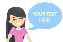 Your text here. Woman with speech bubble Stock Images