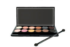 your text. palette of eye shadows and makeup brush Stock Photography