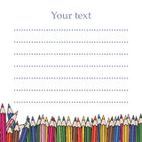 Your text vector. Template for student. School card. Notebook clipart. Blank with pencil. Stock Photo