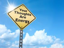 Your thoughts are energy sign. On blue sky background,3d rendered Royalty Free Stock Photo