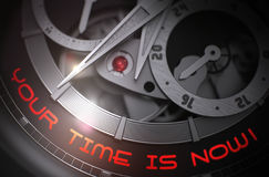 Your Time Is Now on Automatic Men Wrist Watch Mechanism. 3D. Stock Images