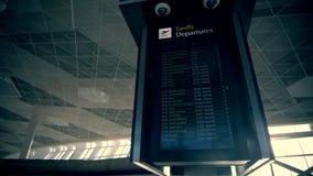 Your travel starts here: departures flights information schedule in international airport stock video footage